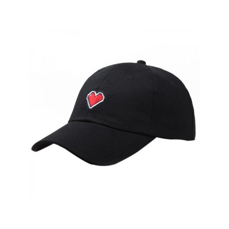 Topumt Fashion Men Womens Adjustable Solid Color Embroidery Heart Shape Baseball Cap Sweet Cartoon Hat