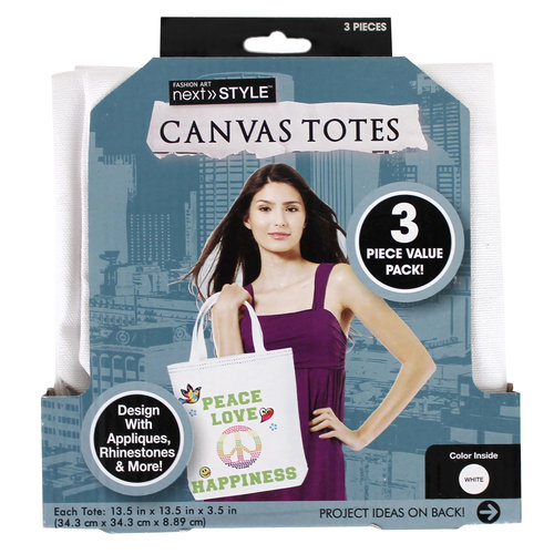 Next Style Canvas Tote Bags, 3-Pack, White