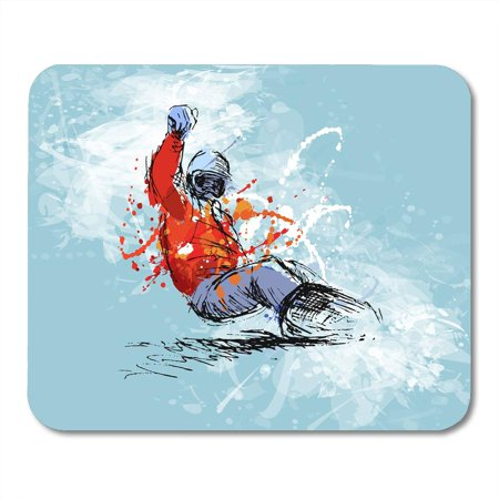 KDAGR Person Blue Snowboard Colored Hand Sketch Snowboarder on Grunge White Ski Active Mousepad Mouse Pad Mouse Mat 9x10 inch