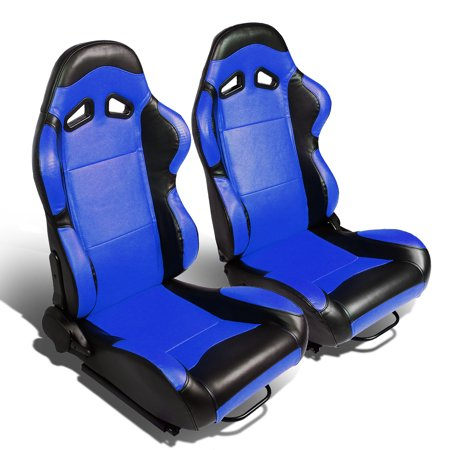 Set of 2 Type-R PVC Leather Reclinable Racing Seats w/ Universal Sliders (Blue Body/Black Side)