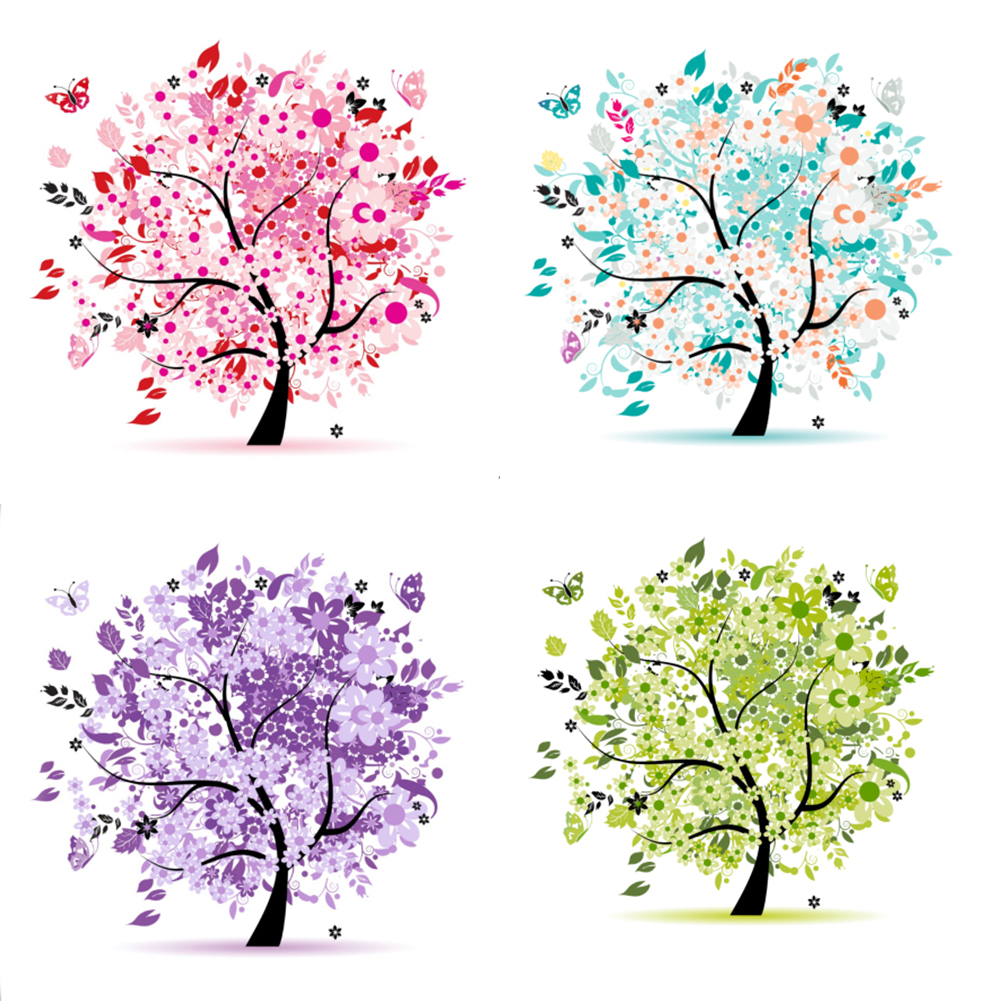 Girl12Queen 5D Diamond Embroidery Cross Stitch Painting Kit Four Season Tree DIY Home Decor