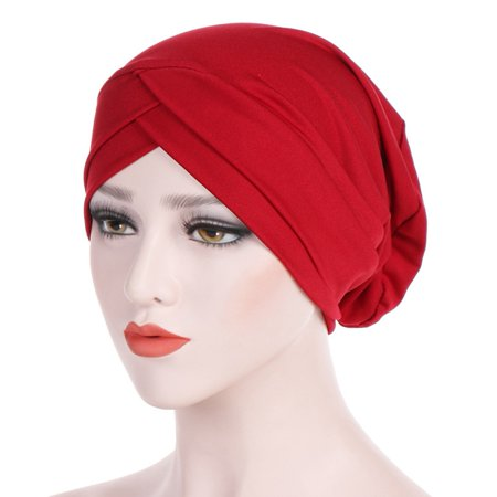 Cross Colors Hat (Fancyleo Women Muslim Frontal Cross Bonnet Hijab Turban Hat Chemo Cap Head Scarf)