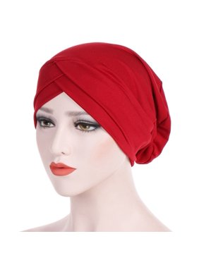 Fancyleo Women Muslim Frontal Cross Bonnet Hijab Turban Hat Chemo Cap Head Scarf Headwrap
