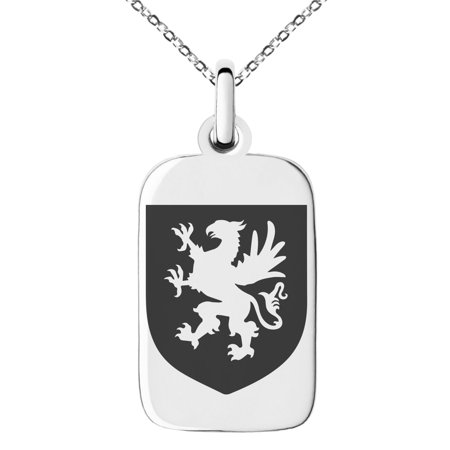 Stainless Steel Griffin Valor Coat of Arms Shield Engraved Small Rectangle Dog Tag Charm Pendant Necklace (Griffin Jewelry)