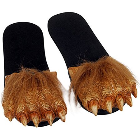 Werewolf Wolfman Furry Feet Latex Costume Sandals Adult Large - Wolfman Costumes