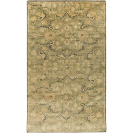 2 X 3 Hellenic Garden Olive Green And Beige Hand Knotted New Zealand Wool Area Throw Rug