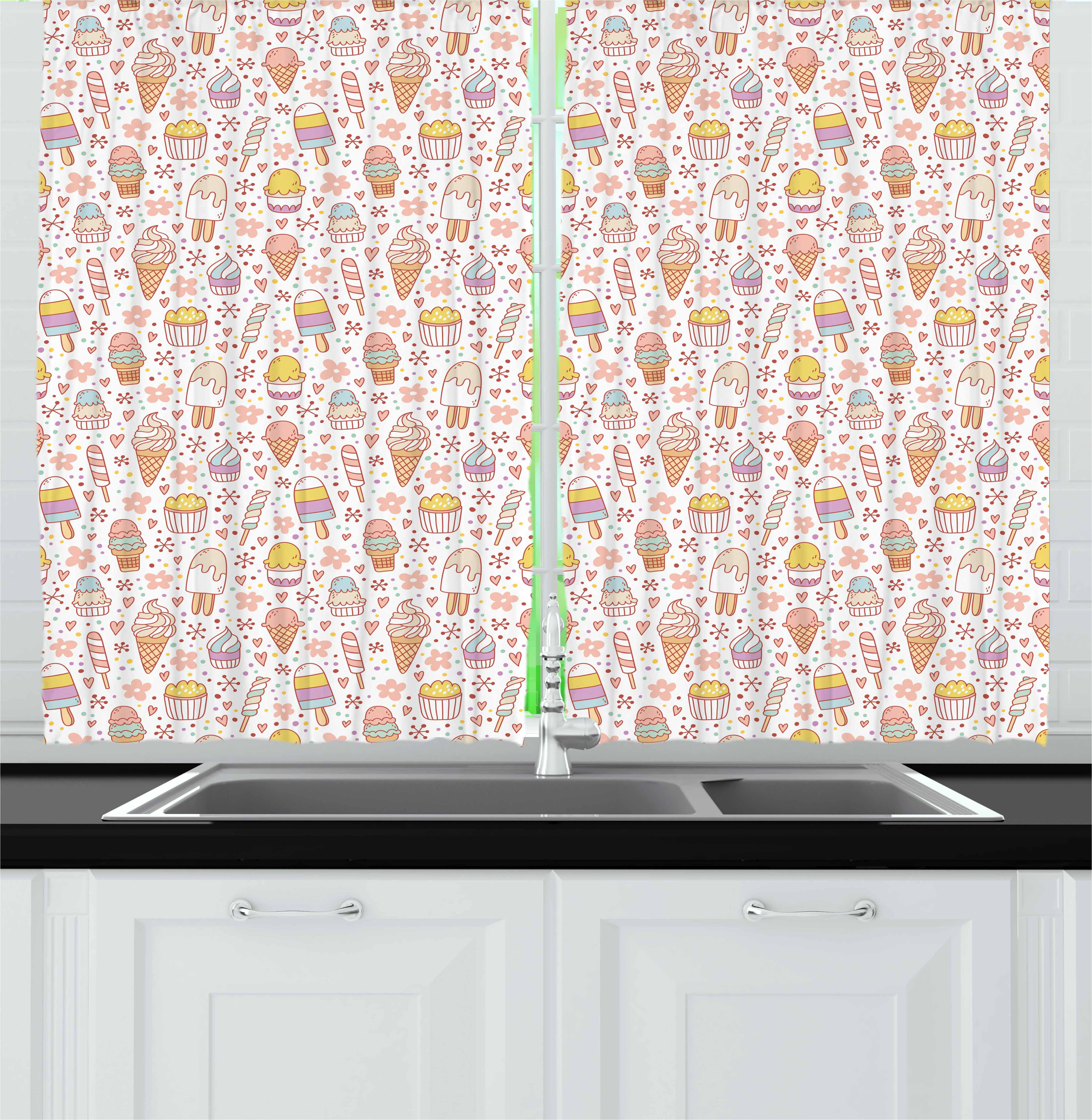 Ice Cream Curtains 2 Panels Set, Cute Candies and Yummy Heart Figures Summer Flower Color Dots Kids Design, Window Drapes for Living Room Bedroom, 55W X 39L Inches, Peach Coral Mint, by Ambesonne