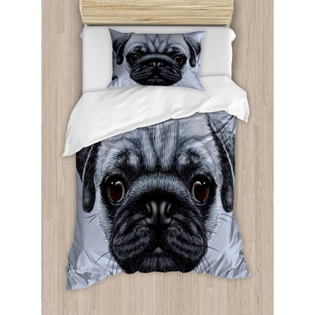 Pug Duvet Cover Set, Realistic Style Detailed Young Dog with Cute Giant Eyes Pure Breed Pug Blue Backdrop, Decorative Bedding Set with Pillow Shams, Slate Blue, by