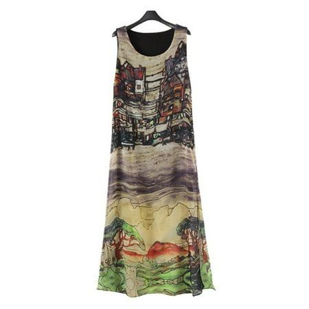 Women Sleeveless Maxi Sundress, Chiffon Summer Beach Dress, Abstract Pattern Exotic Long Dress For - Exotic Dancer Dress