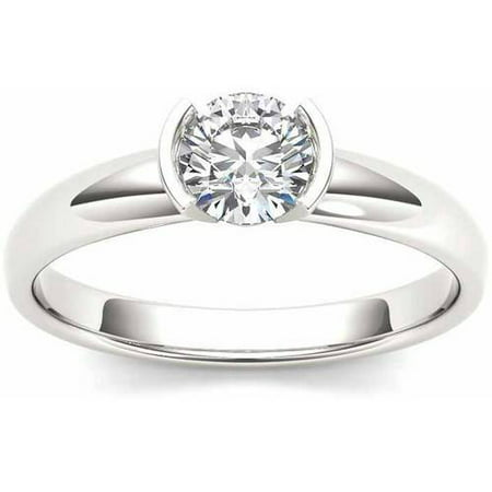 1 Carat T.W. Diamond Half Bezel Solitaire 14kt White Gold Engagement Ring