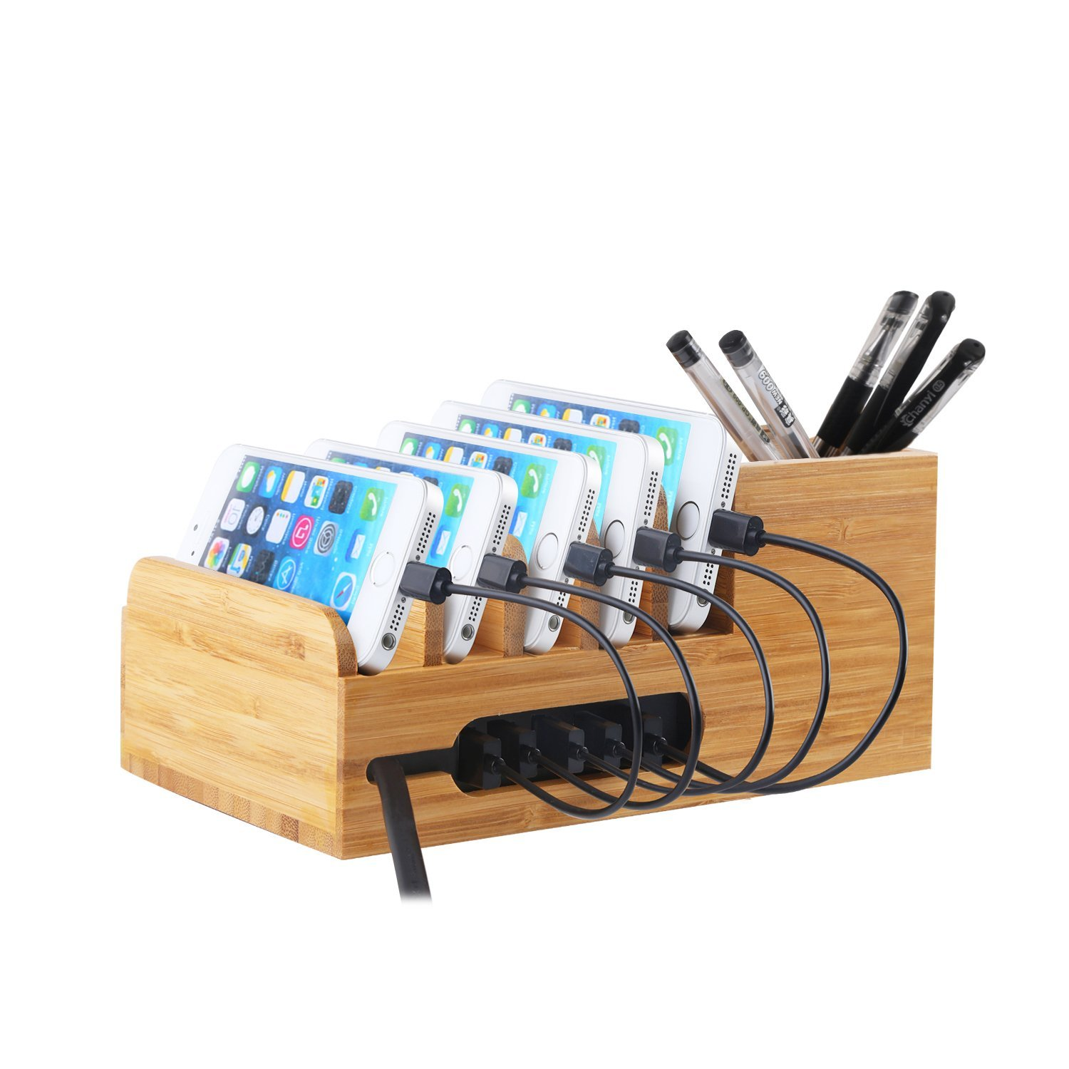 charging station with 6 port 40w usb charger desktop organizer and rh walmart com
