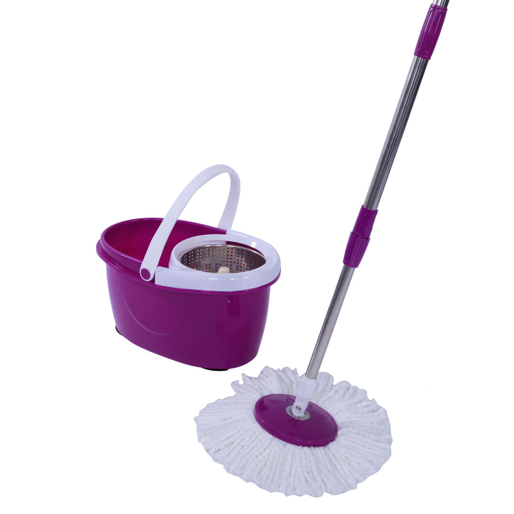 Ktaxon Upgrade 360 Easy Spin Wring Mop and Stainless Steel Bucket System Includes 2 Free Microfiber Mop Heads purple