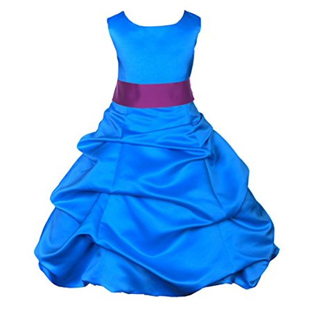 Ekidsbridal Royal Blue Satin Pick-Up Bubble Flower Girl Dresses Formal Special Occasions Dresses Wedding Pageant Recital Reception Party Ball Gown Graduation Birthday Girl Ceremony Princess - Royal Blue And Orange Wedding