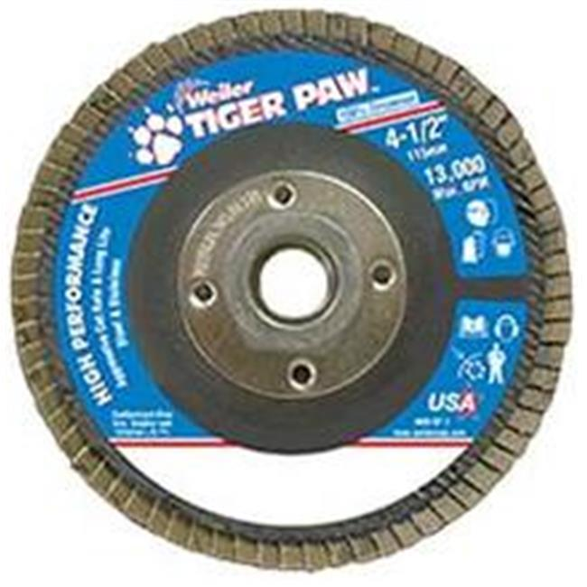 Weiler 804-51125 Type 29 Tiger Paw Angled Flap Discs, 4. 5 inch, 60 Grit, 13,000 Rpm