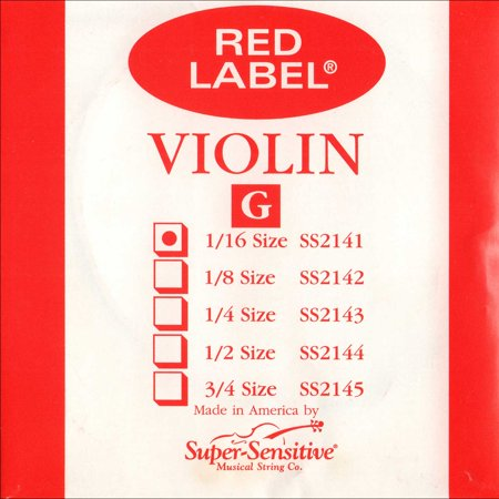 Super Sensitive Red Label 1/16 Violin G String - Medium Gauge - Nickel Wound Steel Core - Removable Ball
