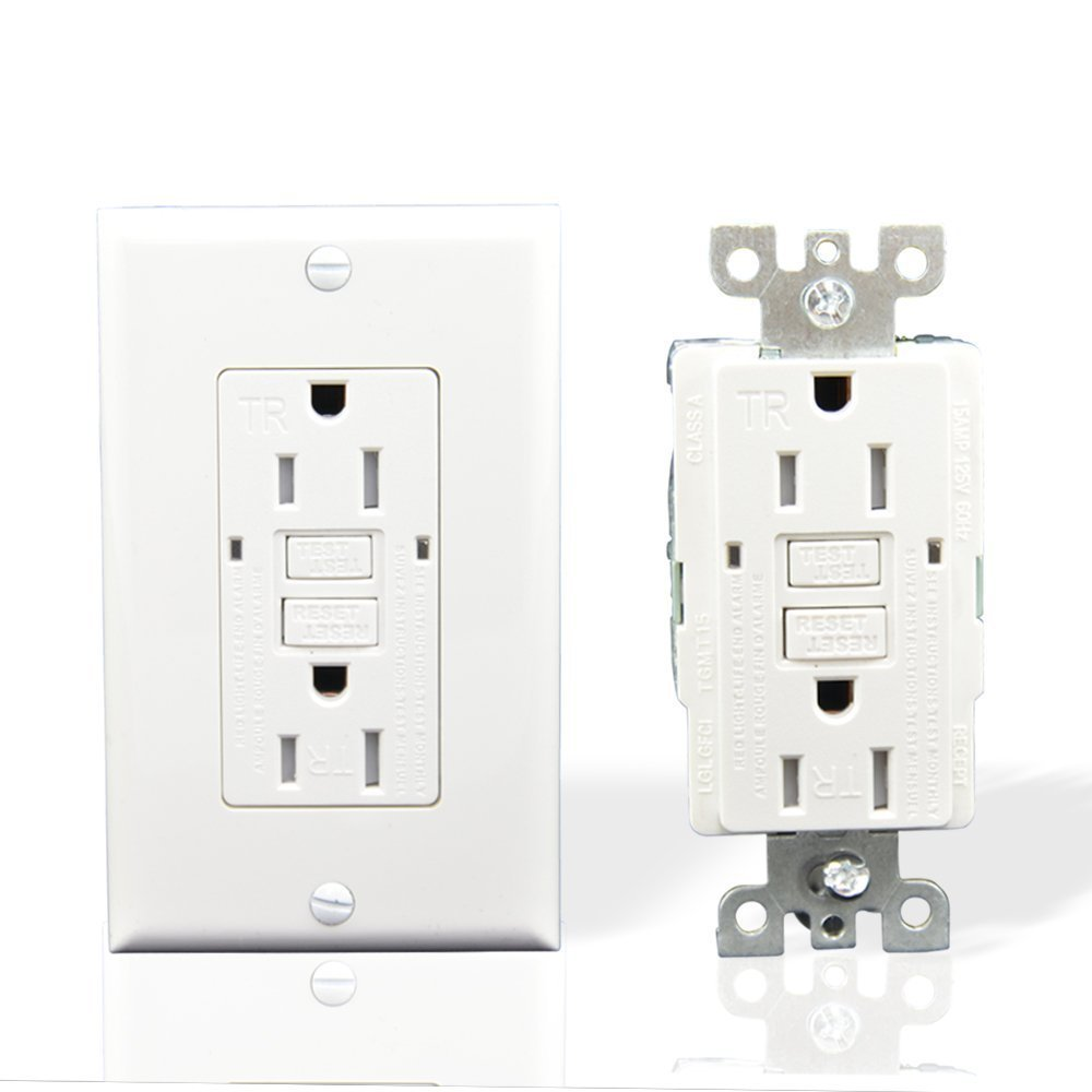 houseables gfci outlet receptacle 15 amp 10 pack tamper resistant nylon faceplate