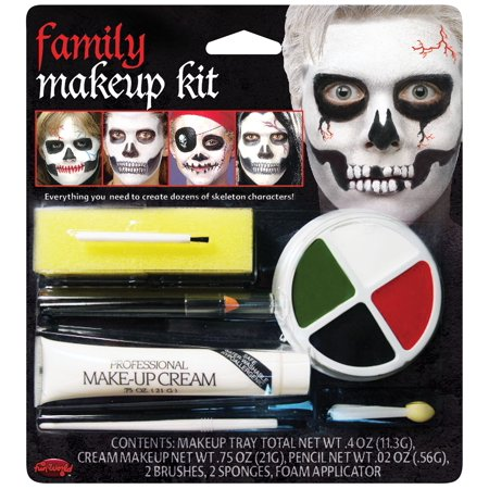 Fun World Halloween Family Skeleton 7pc Makeup Kit, White Black