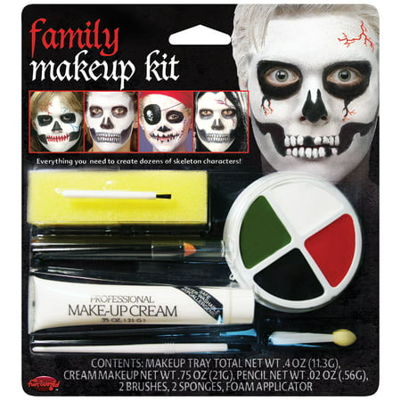 Family Fun Magazine Halloween Food (Fun World Halloween Family Skeleton 7pc Makeup Kit, White)