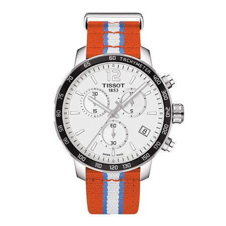 Men's T095.417.17.037.14 'Quickster' Silver Dial Orange Fabric Strap Chronograph Oklahoma City Thunder Swiss Quartz
