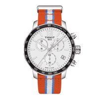 Men's T095.417.17.037.14 'Quickster' Silver Dial Orange Fabric Strap Chronograph Oklahoma City Thunder Swiss Quartz Watch