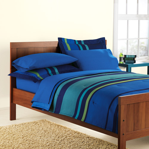 Mainstays Plaza Striped Bed in a Bag, Blue