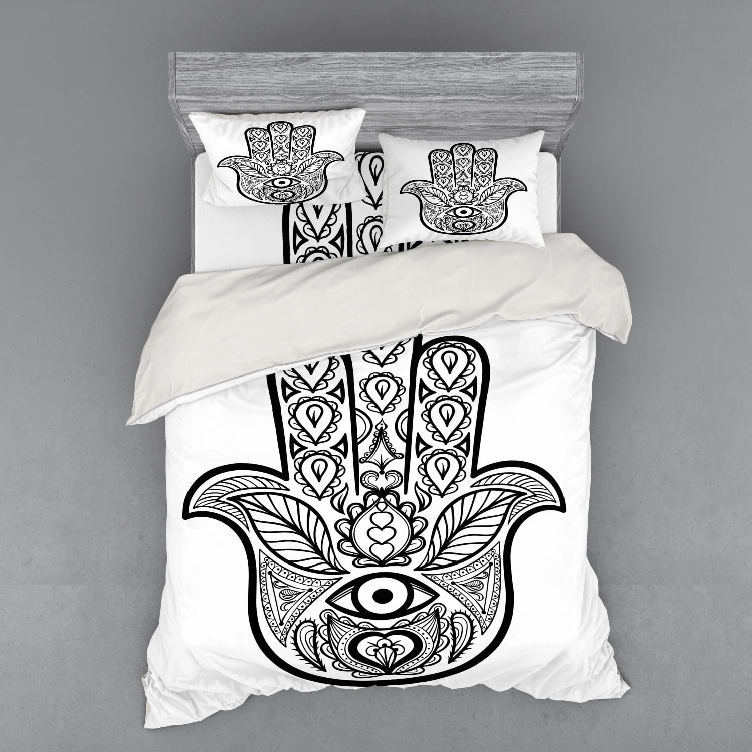 Mandala Duvet Cover Set Hamsa Hand Inner Eye Image Evil Eyes Bless You Oriental Eastern Art Print Bedding Set With Shams And Fitted Sheet 3 Sizes By Ambesonne Walmart Com Walmart Com