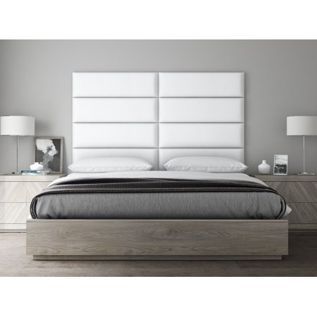 VANT Upholstered Headboards - Accent Wall Panels - Vintage Leather White Dove - 39 Inch Twin-King - Set of 4 panels. ()