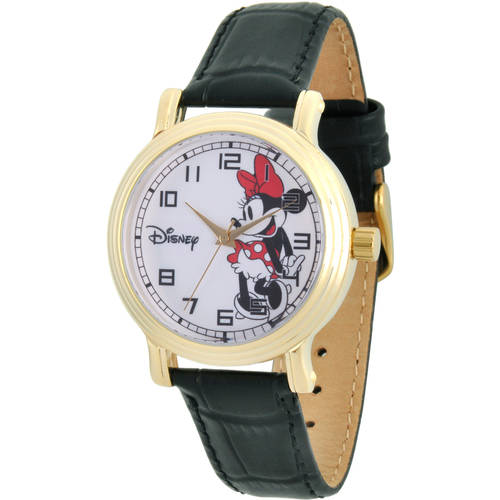 Disney Minnie Mouse Women's Gold Vintage Alloy Watch, Black Leather Strap