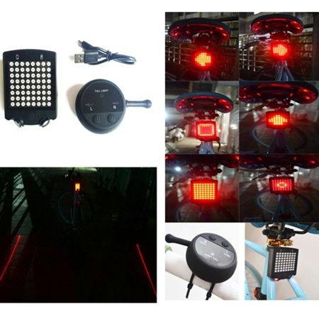Wireless Bicycle Laser Tail Light Bike Turn Signal Remote Control Safety LED Warning Taillight USB Rechargeable Rear Light - image 4 de 12