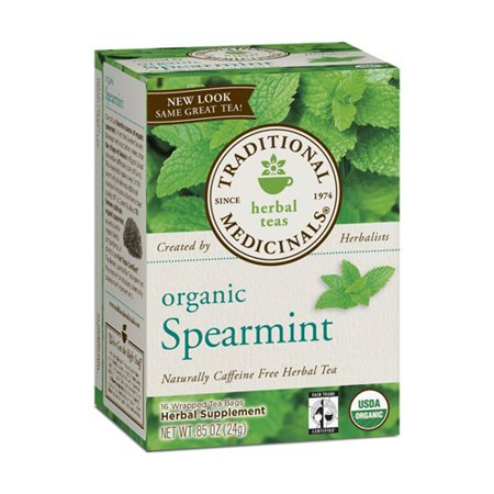 TRADITIONAL MEDICINALS Caffeine Free Organic Spearmint Herbal Tea Bags - 16 Ea