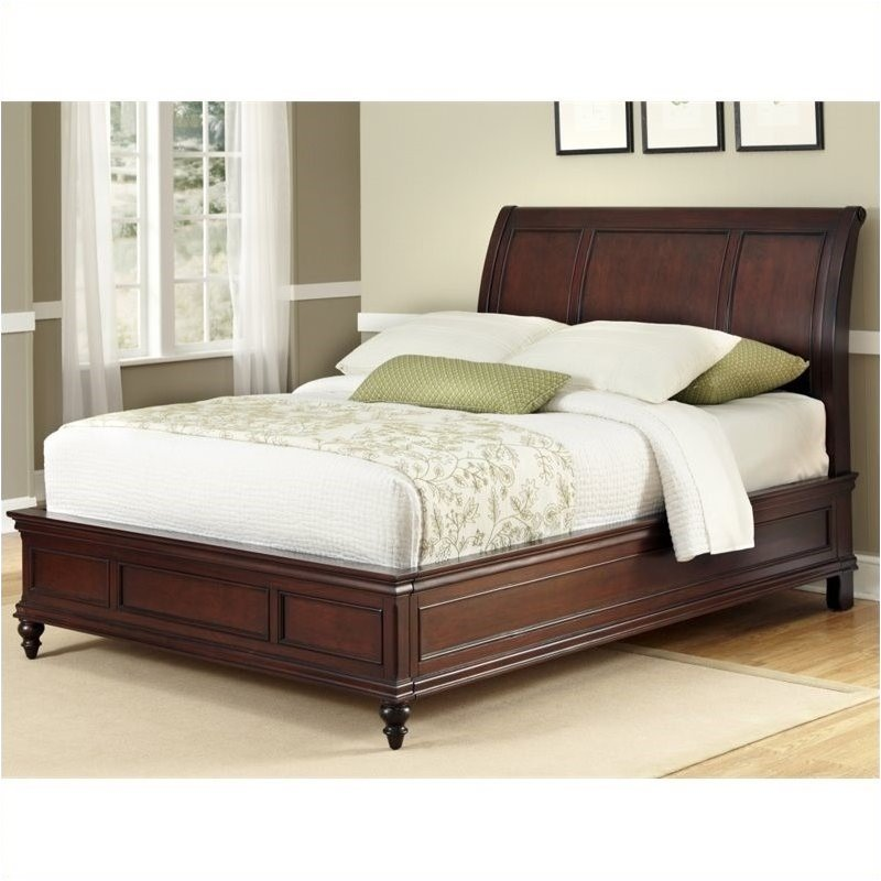 Bowery Hill Queen Sleigh Bed in Cherry by Bowery Hill