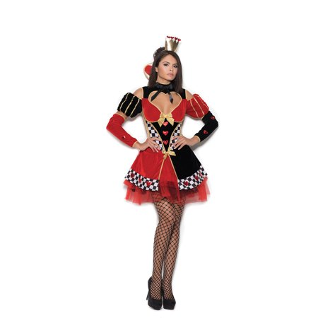 Queen of Hearts - 4 pc costume includes dress, head piece, neck piece and arm guards - Color - Black/Red - Size - (Queen's Guard Costume)