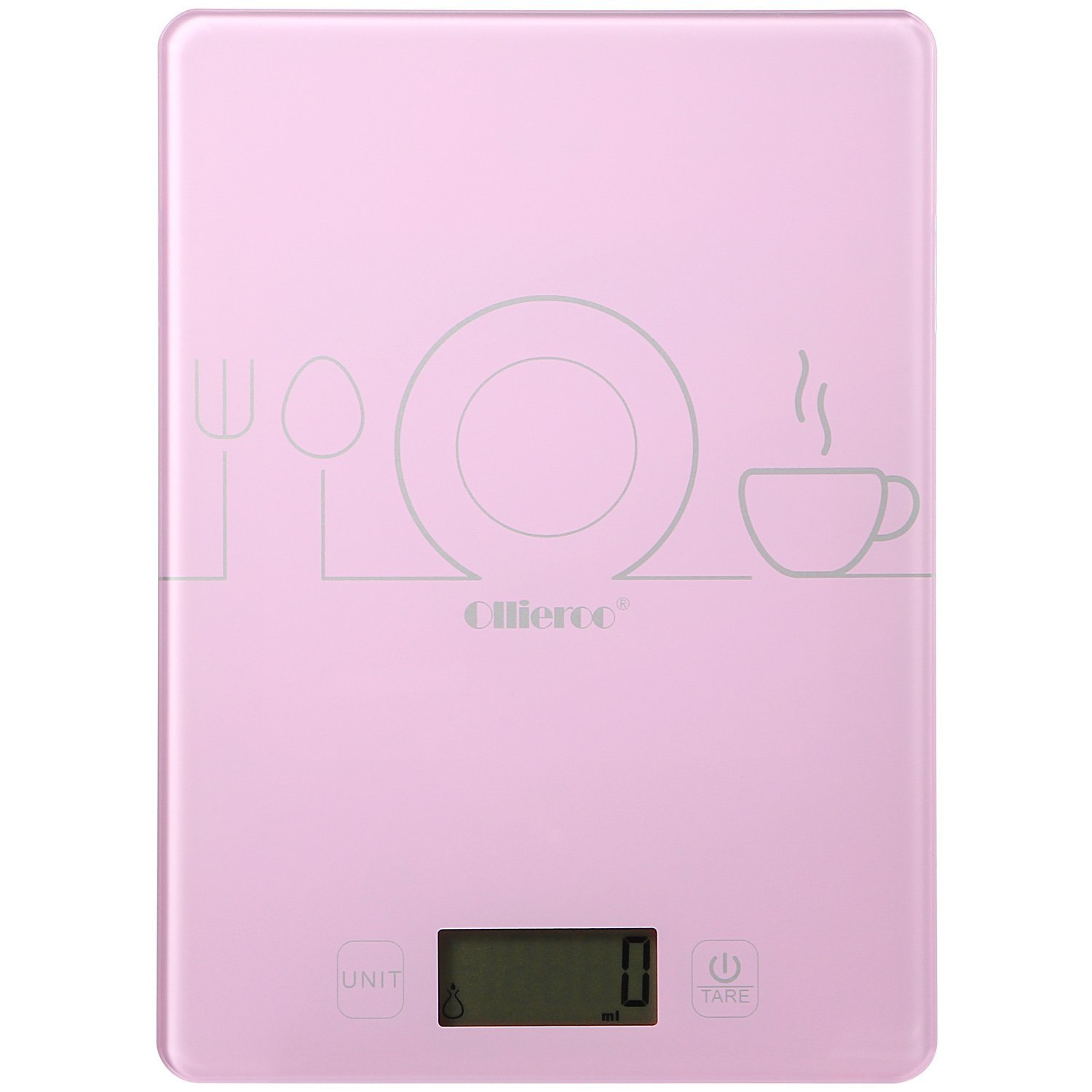 Ollieroo Pink Food Kitchen Scale Digital Tempered Glass Design 11 Lbs