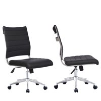 2xhome Set of 2 Black Modern Ergonomic Executive Mid Back PU Leather No Arms Rest Tilt Adjustable Height Wheels Cushion Lumbar Support Swivel Office Chair Conference Room Home Task Desk Armless
