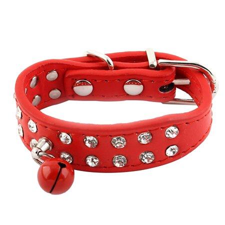 Artificial Rhinestone Bell Decor Faux Leather Pet Dog Strap Belt Collar Red XXS