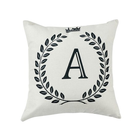 Home Cotton Linen Letter A Pattern Zippered Pillow Cushion Cover 18 x 18 (Cotton Letter)