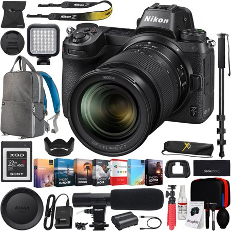 Nikon Z7 Mirrorless FX-Format Full-Frame 4K Ultra HD Camera Body (1594) with NIKKOR Z 24-70mm f/4 S Lens Kit and 120GB Memory Card + Deco Gear Backpack Cleaning Kit Microphone Editing Suite Bundle