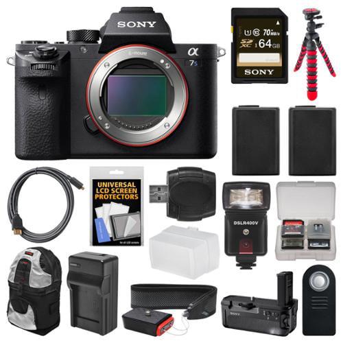 Sony Alpha A7S II 4K Wi-Fi Digital Camera Body with Sony VG-C2EM Grip + 64GB Card + Backpack + Flash + Battery & Charger + Flex Tripod + Kit