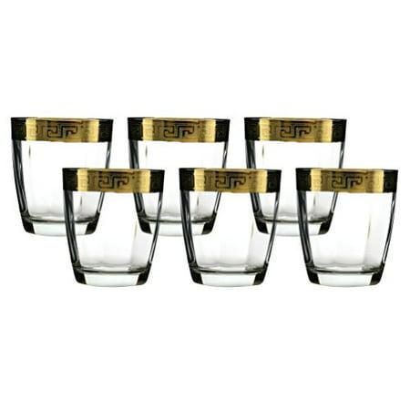 Ebros Set of 6 Italian Import Elegant DOF Double Old Fashioned Tumbler Glass With 14k Gold Plated Classical Greek Key Greca Border Rim Accent 12oz Bartending Cocktail Glassware Lowball Rocks Glasses Gold Double Border