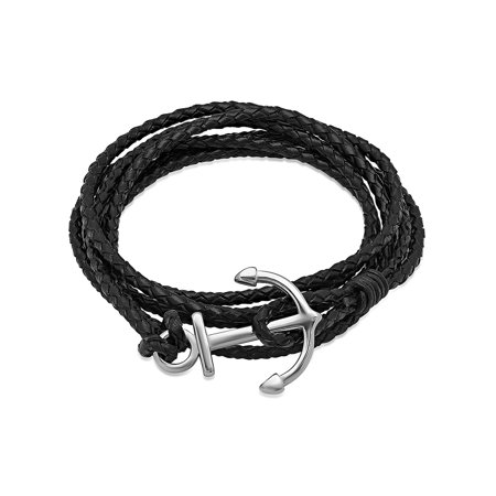 Black Leather Wrap Bracelet with Stainless Steel Anchor Clasp (Wrap Bracelet For Men)
