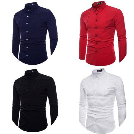 Mens Casual Stretch Dress Shirt Slim Fit Long Sleeve Business Shirts Formal Tops