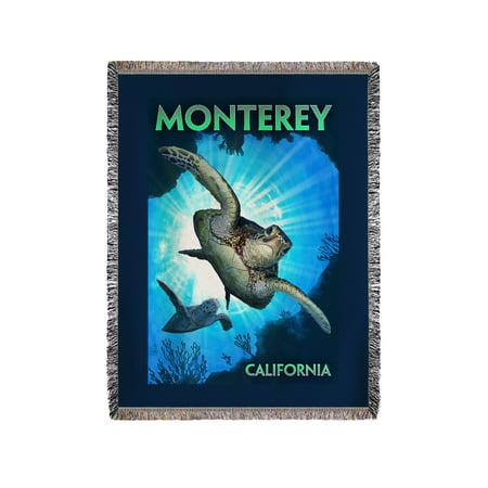 Monterey Hanging Lantern - Monterey, California - Sea Turtles Diving - Lantern Press Artwork (60x80 Woven Chenille Yarn Blanket)
