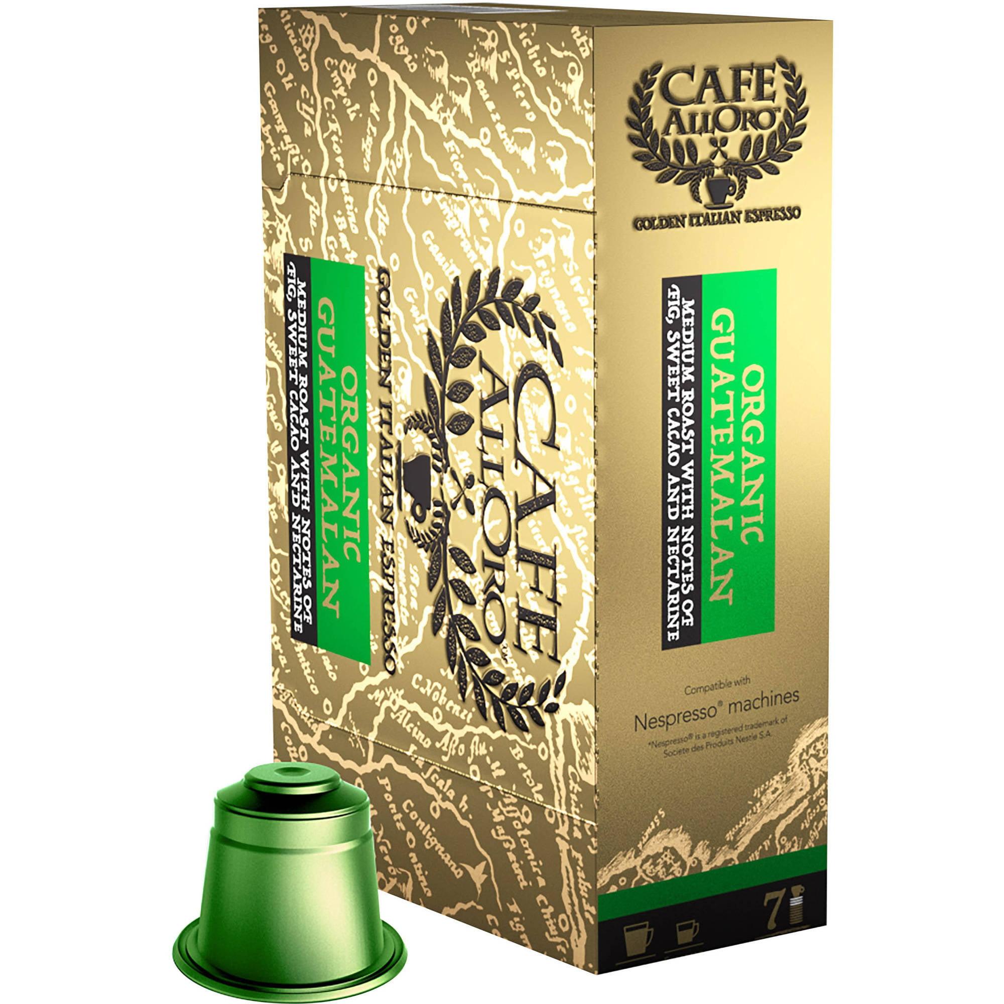 Cafe AllOro Organic Guatemalan Golden Italian Espresso Single Serve Coffee Cups, 50 count