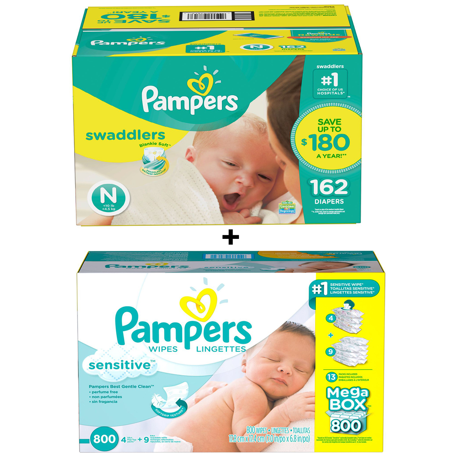 Pampers Swaddlers Diapers Size N 162 Count  Bundle with Pampers Sensitive Baby Wipes (800 ct.)