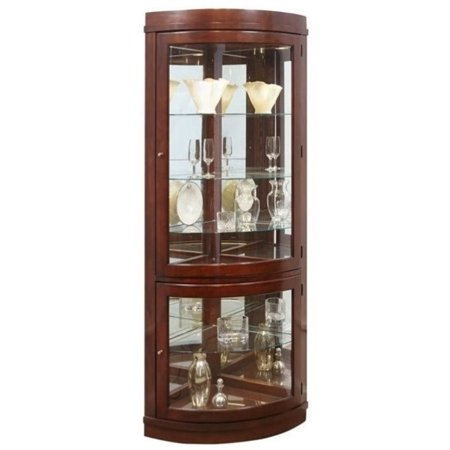 Cherry Carved Curio Cabinet - Beaumont Lane Corner Curio Cabinet in Chocolate Cherry