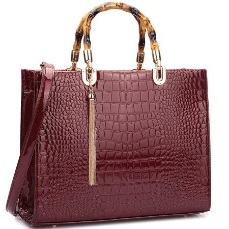 - Wooden Handle Croco Material Satchel Bag