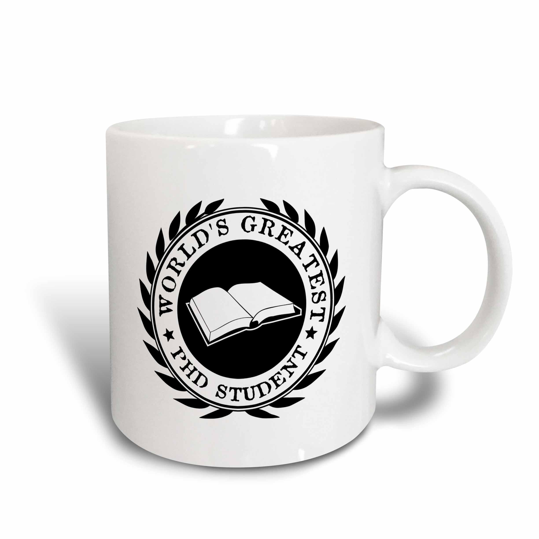 3dRose Worlds Greatest PhD student scholar pride black white badge graphic, Ceramic Mug, 15-ounce
