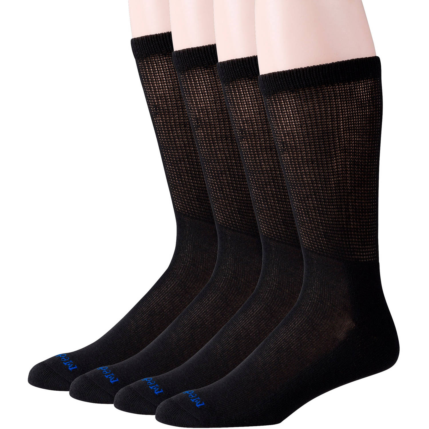 Women's Crew Socks, Black, 4pk