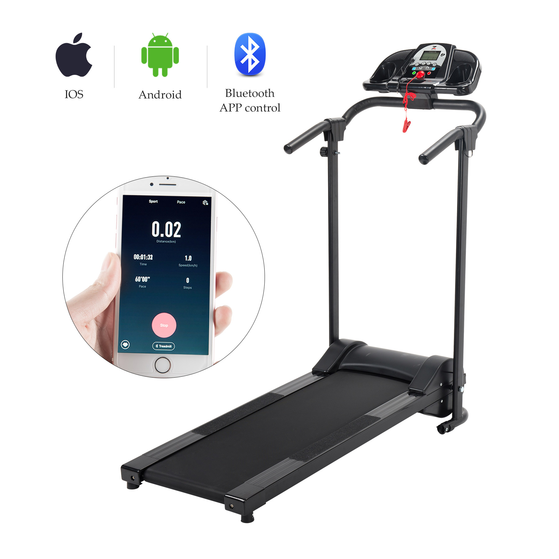 Electric Treadmill Motorized Running Machine w/ APP Control & Holder Design