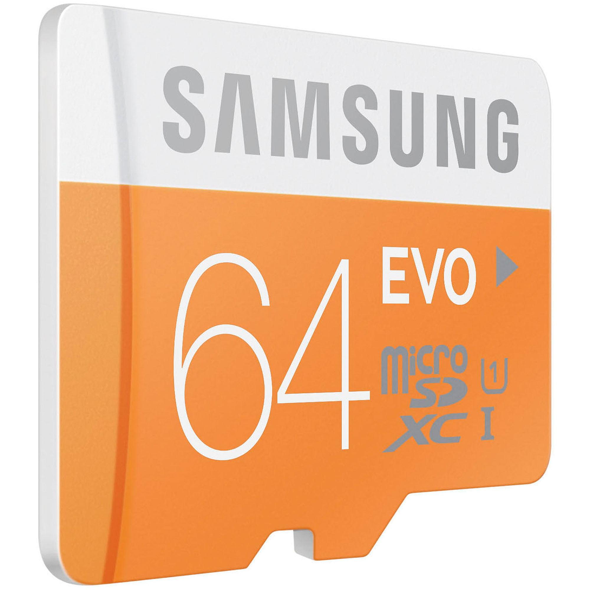 Samsung 64GB EVO Class 10 microSD Card with Adapter